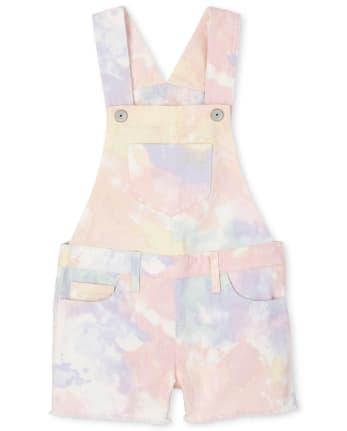 The Childrens Place Girls Tie Dye Shortalls