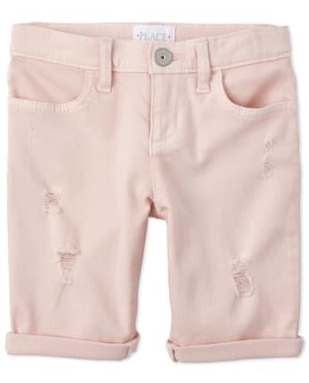 Shorts de mezclilla desgastados con puños enrollados para niñas