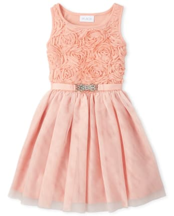 Girls Glitter Flower Matching Tutu Dress