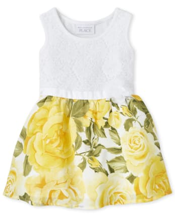 Baby And Toddler Girls Lace Floral Matching Knit To Woven Dress