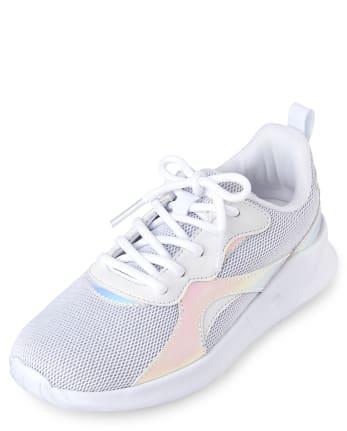 Girls Uniform Holographic Glitter Running Sneakers