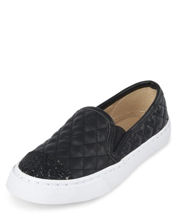 Girls Uniform Glitter Quilted Slip On Sneakers