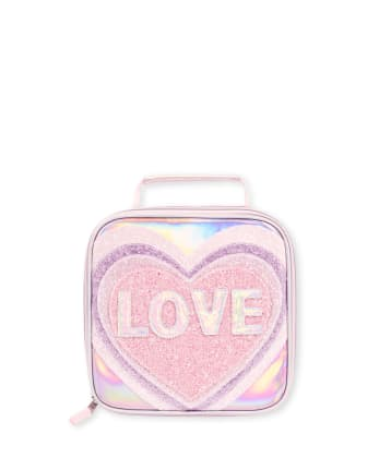 Fiambrera con purpurina Love para niñas
