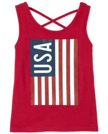 Baby And Toddler Girls Americana Mix And Match USA Cross Back Tank Top