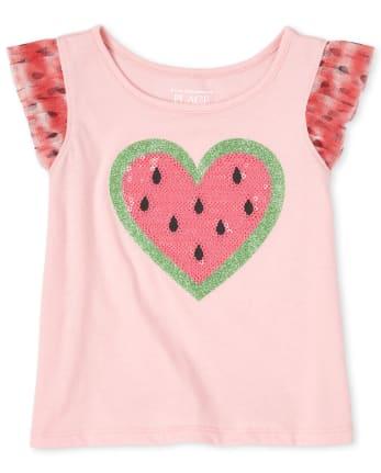 5T Girls Ruffle Heart Top
