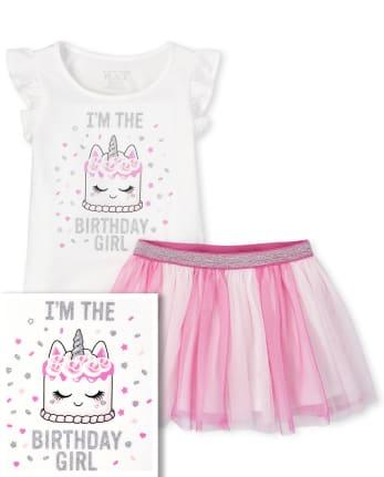 Baby And Toddler Girls Birthday Glitter Cake Ruffle Top And Tutu Skirt Set