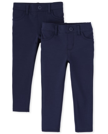 Toddler Girls Uniform Ponte Jeggings 2-Pack
