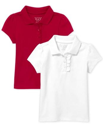 Toddler Girls Uniform Ruffle Pique Polo 2-Pack