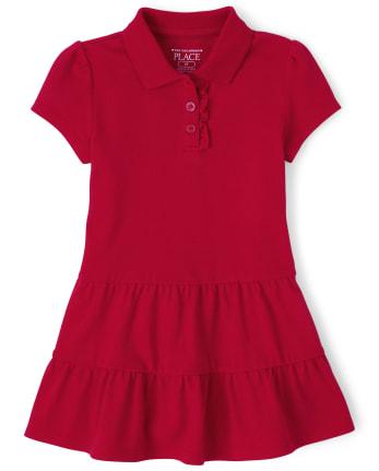 Toddler Girls Uniform Tiered Pique Polo Dress