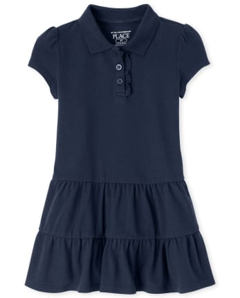 Toddler Girls Uniform Tiered Pique Polo Dress