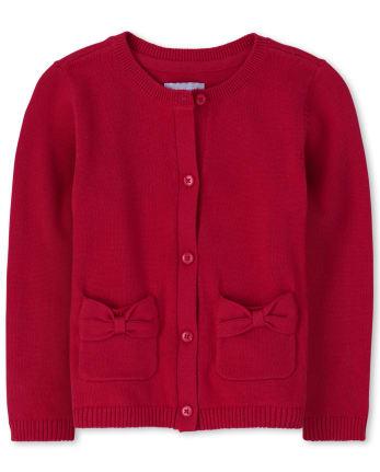Toddler Girls Uniform Bow Cardigan