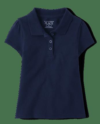 Polo de piqué de uniforme para niñas pequeñas
