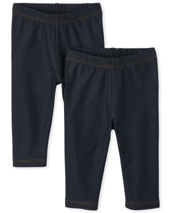 Toddler Girls Uniform Faux Denim Capri Leggings 2-Pack