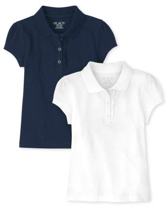 Girls Uniform Ruffle Pique Polo 2-Pack