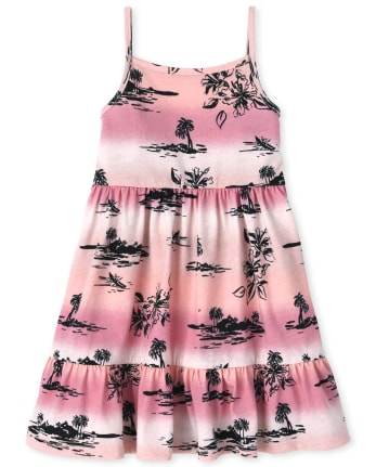 Baby And Toddler Girls Palm Tree Tank Dress