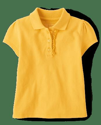 Toddler Girls Uniform Ruffle Pique Polo
