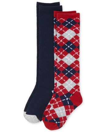 Girls Argyle Knee Socks 2-Pack