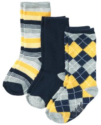 Paquete de 3 pares de calcetines a rayas y rombos para niños pequeños