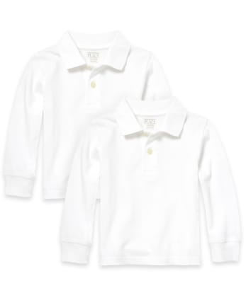 Baby And Toddler Boys Uniform Long Sleeve Pique Polo 2-Pack