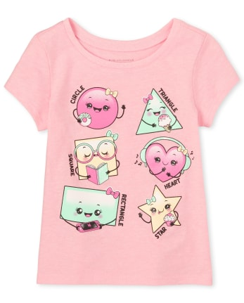 Baby And Toddler Girls Glitter Shapes Graphic Tee