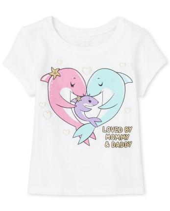 Baby And Toddler Girls Glitter Family Shark Graphic Tee