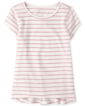 Girls Striped High Low Basic Layering Tee
