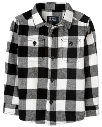 Baby And Toddler Boys Matching Family Buffalo Plaid Flannel Button Down Shirt