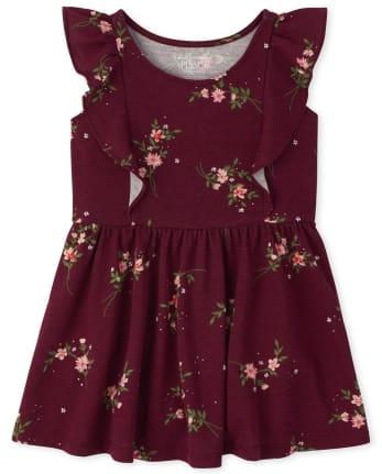 Vestido con volantes florales para bebés y niñas pequeñas