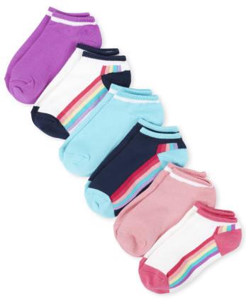 Girls Rainbow Striped Super Soft Ankle Socks 6-Pack