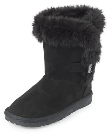Girls Buckle Faux Fur Boots