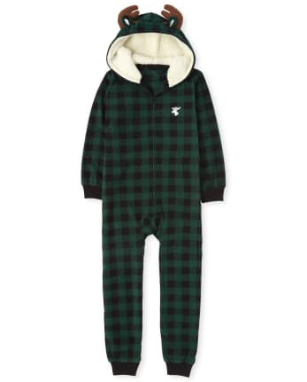 Unisex Kids Matching Family Moose Buffalo Plaid Fleece One Piece Pajamas
