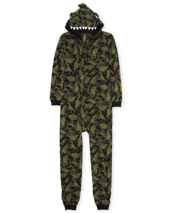 Unisex Adult Matching Family Dino Fleece One Piece Pajamas
