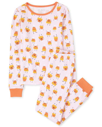 Girls Mommy And Me Halloween Candycorn Matching Snug Fit Cotton Pajamas