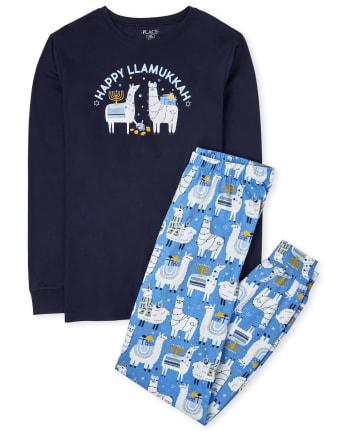 Unisex Adult Matching Family Hanukkah Llama Cotton Pajamas