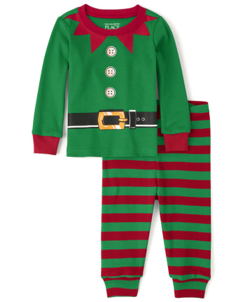 Unisex Baby And Toddler Matching Family Elf Snug Fit Cotton Pajamas