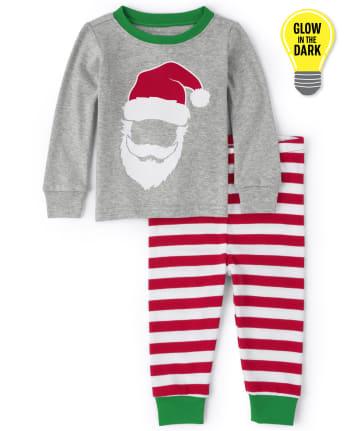 Pijama unisex de algodón con ajuste ceñido a rayas de Papá Noel a juego para bebés y niños pequeños