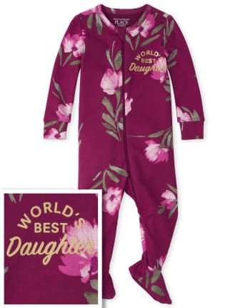 Baby And Toddler Girls Best Daughter Snug Fit Cotton One Piece Pajamas