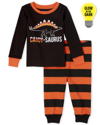 Unisex Baby And Toddler Matching Family Halloween Glow Candy-Saurus Snug Fit Cotton Pajamas