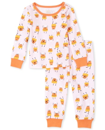 Baby And Toddler Girls Mommy And Me Halloween Candycorn Matching Snug Fit Cotton Pajamas