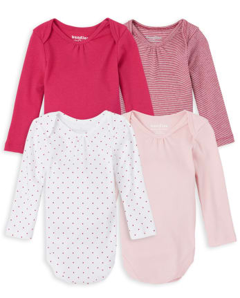 Baby Girls Dot And Striped Bodysuit 4-Pack