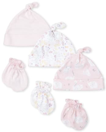 Baby Girls Floral Swan Knotted Hat And Mittens 6-Piece Set