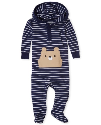 Baby Boys Happy Bear Striped Cotton Coverall