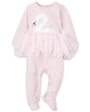 Baby Girls Floral Swan Cotton Tutu Coverall
