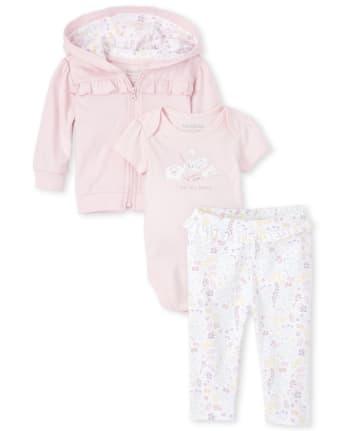 Baby Girls Floral Swan 3-Piece Take Me Home Set
