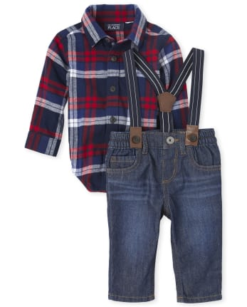 Baby Boys Plaid Flannel Outfit Set