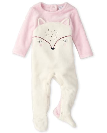 Baby Girls Furry Deer Cozy Coverall