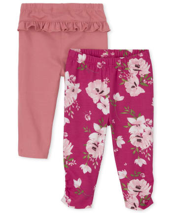 Baby Girls Floral Ruffle Pants 2-Pack