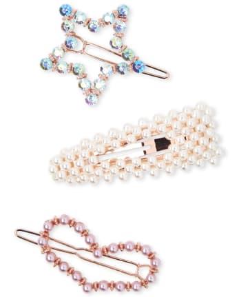 Girls Faux Pearl Hair Clip 3-Pack