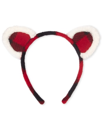 Girls Buffalo Plaid Cat Ears Headband