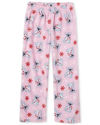Girls Candy Cane Koala Fleece Pajama Pants